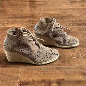Toms Perforated Suede Wedge Booties